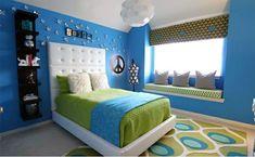 blau und grün im schlafzimmer