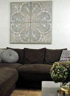 Wanddecoratie van 4 metalen panelen die samen 1 patroon vormen. Dit exclusieve wandpaneel is met de hand beschilderd en er is er maar 1 van gemaakt.