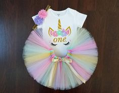 Unicorn 1st Birthday Outfit Pink Purple Mint and Gold Tutu