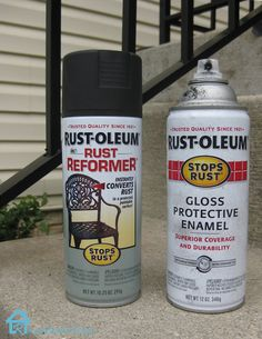 Front Yard Care and How to Remove Rust from Metal Rust-Oleum Rust Reformer and Rust-Oleum Gloss Prot Wrought Iron Stair Railing, Metal Railings, Wrought Iron Fences, How To Clean Rust, How To Remove Rust, Home Design, Interior Design, Remove Rust From Metal, Houses