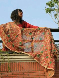 #Handpainted#Kalamkari#Dupatta#Cotton