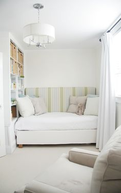 wow, would love a daybed like this in Max's room!! made with a single-sized Ikea bedframe and DIY headboard.