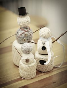 Twine Ball Frosty ~ Kinda large for an ornament, but you could just wrap ascending-size balls of twine or yarn to miniaturize them, then attach buttons, scarf & twig arms w/ hot glue.