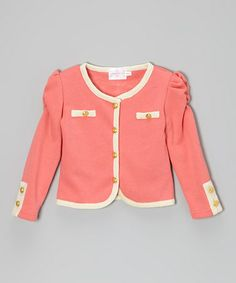 Take a look at this Watermelon Button Jacket - Toddler & Girls by Blossom Couture on #zulily today!