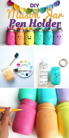 I love these colourful kawaii jars! Are you in search of some awesome mason jar crafts? This list has 25 incredible craft projects from bathroom accessories to garden solar lights, that you can DIY easily using Mason Jars or jars from your recycling box! So for a huge list of easy diy crafts, click through & get ready to start making! #crafts #diy #masonjars #roundup #easycrafts