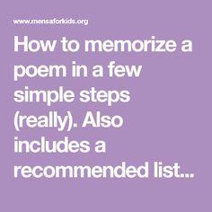 memorize poem assignment