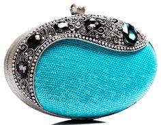 Elegant Collection by Meera Mahadevia Fashion Handbags, Purses And Handbags, Fashion Bags, Blue Handbags, Fashion Plates, Vintage Purses, Vintage Bags, Clutch Purse, Coin Purse
