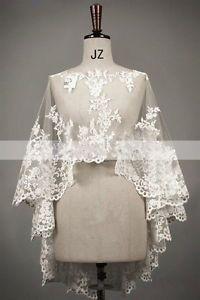 New-Wedding-Ivory-White-Lace-Bolero-Shrug-Bridal-Jacket-S-M-L-XL-XXL-XXXL