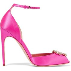 Brian Atwood - Oriana Crystal-embellished Satin Sandals (20.460 RUB) ❤ liked on Polyvore featuring shoes, sandals, heels, bright pink, strap sandals, high heeled footwear, peep-toe shoes, satin shoes and satin sandals