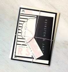 Modern Lace - Chic & Modern Lace Wedding Invitations, Pink, White, Ivory, Black Stripes - Purchase for a Sample