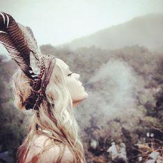 cherokee wannabe | feather headdress | smoke | mist | exhale | native american culture | style | www.republicofyou.com.au