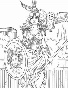 Fantasy and godess Coloring Pages for Adults - Bing images Coloring Pages To Print, Coloring Book Pages, Athena Tattoo, Greek God Tattoo, Mythology Tattoos, Greek Gods, Fantasy Art, Art Drawings, Sketches
