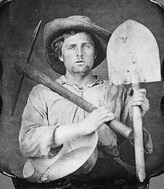 c.1850 California gold miner with pick, shovel, pan & gold nuggets