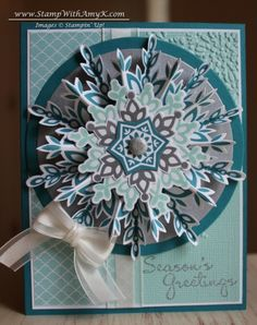 Festive Flurry Snowflake in Blue  Jul  30: Festive Flurry stamp set and Framelits Dies -  tutorial