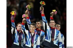 Daniel Purvis, Max Whitlock, Louis Smith, Kristian Thomas and Sam Oldham from Great Britain