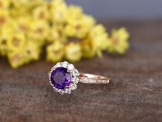 1.2 Carat Round Amethyst Diamond Engagement Ring With Moissanite Halo 14k Rose Gold Flower Stacking - BBBGEM