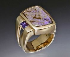 14k gold ring with Boulder Opal and Tanzanite