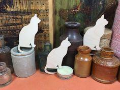 Cat Elegant 10cm x 3 - cat wooden craft shapes x 3, Craftshapes