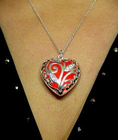 Red Glowing Heart Necklace Glowing Jewelry Glowing by dressstar