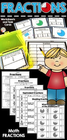 This Fraction Packet includes 40 task cards and worksheets. It is perfect for students to work on fraction skills. Equivalent fractions, number line, color the fraction and write the fraction are a few of the activities included. Comparing Fractions, Fractions Worksheets, Equivalent Fractions, Fraction Activities, Teaching Resources, Passage Writing, Primary Classroom, Classroom Ideas, Fraction Word Problems