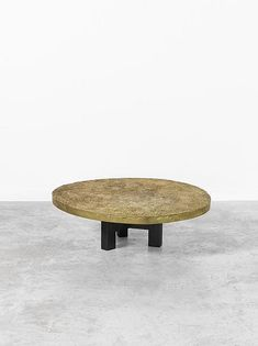 Ado Chale; Gilded Bronze and Lacquered Metal 'Sol de Lune' Coffee Table, 1965.
