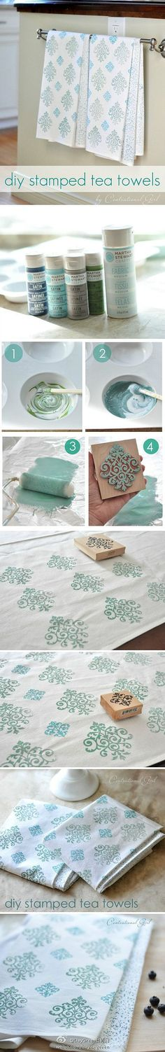 diy stamped tea towels, use for napkins...gifts too
