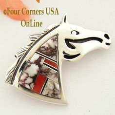 Four Corners USA Online - Wild Horse Coral Channel Inlay Horse Head Pin Pendant Native American Jewelry by Navajo Ervin Hoskie, $160.00 (http://stores.fourcornersusaonline.com/wild-horse-coral-channel-inlay-horse-head-pin-pendant-native-american-jewelry-by-navajo-ervin-hoskie/)
