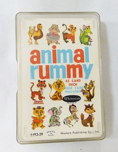 Vintage Whitman animal rummy card game in plastic case from 1963 kids game #Whitman