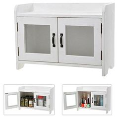 Decorative Shabby Chic White Wood Mini Kitchen Cupboard / Spice Cabinet / Bathroom Storage Cabinet w/ Glass Windows