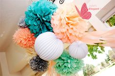 ❤️Gotta get these for my next event!! Affordable and beautiful Tissue Paper Pom Pom Arrangements by JuliesElegantCrafts on Etsy