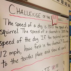 Math Challenge of the Week for sixth grade math students. Post the problem on Monday morning and students have until the end of the day Thursday to solve them. Go over problem on Friday. Math Teacher, School Classroom, Teaching Math, Classroom Ideas, Teacher Stuff, Teaching Ideas, Teaching Resources, Classroom Routines, School Craft