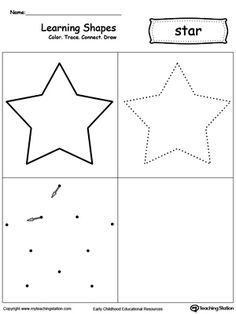 Learning Shapes: Color, Trace, Connect, and Draw a Star: Learn the star shape by coloring, tracing, connecting the dots and drawing with My Teaching Station printable Learning Shapes worksheet.
