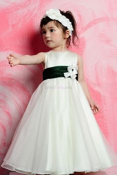 White Zipper Up Natural Sleeveless Long/Floor-length Organza Flower Girl Dresses FDC28