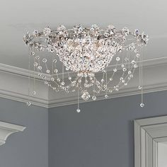 Add this wonderful Heritage beaded crystal ceiling light to your decor and immerse your space in shimmering elegance. Style # at Lamps Plus. Crystal Ceiling Light, Crystal Chandelier Lighting, Ceiling Light Fixtures, Ceiling Lights, Cheap Chandelier, Elegant Chandeliers, Ceiling Decor, Bedroom Lighting, Home Lighting