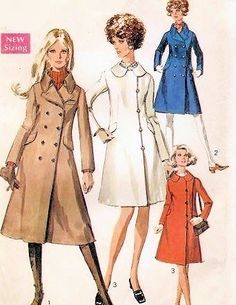 Mod 60s Doublre Breasted Coat Pattern Side Button Version, Mini, Regular or Midi Lengths Classic Styles Simplicity 7859 Vintage Sewing Patte...
