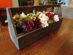 My new dining centerpiece - vintage wooden tool caddy