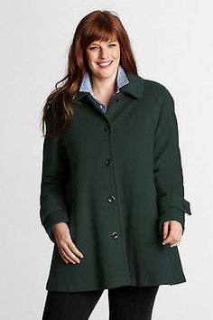 need LANDS' END BOTTLE GREEN Luxe Italian Wool & Cashmere Swing Coat, 14W *NWT $198