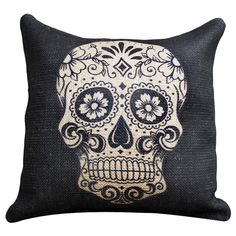 Sugar Skull Burlap Pillow in Black