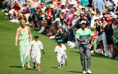Tiger Woods and his girlfriend Lindsey Vonn take his kids Sam and Charlie to the Masters Par 3 Tournament in Atlanta Georgia on April 8, 2015