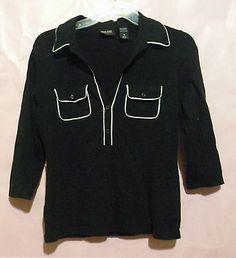 New York & company shirt 3/4 sleeve length Medium Black w/ white trim