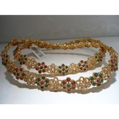 Golden anklet with polki stones - $40