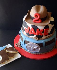 Cowboy Western Cakes and Smash Cakes + How to Stack Cake Tiers {Tutorial} Western Theme Cakes, Western Birthday Cakes, Boys 1st Birthday Party Ideas, 1st Boy Birthday, Birthday Celebration, How To Stack Cakes, Fancy Cakes, Cake Decorating Tutorials, Cookie Decorating