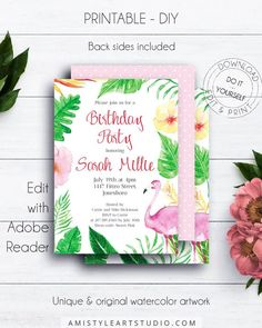 Flamingo Birthday Party Invitation, with an adorable flamingo and tropical design in trendy and modern style by Amistyle Art Studio on Etsy Birthday Party Invitations, Baby Shower Invitations, Flamingo Birthday, Tropical Design, Printable Invitations, Birthdays, Stationery, Birth Announcements, Art Market