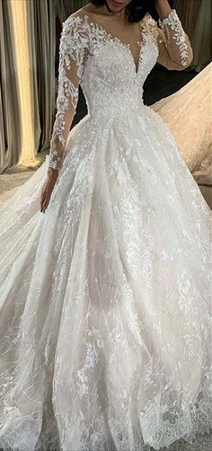 V-neck Long Sleeves Lace Tulle Wedding Dresses, Long Wedding Dresses, Elegant Long Wedding Dresses Poofy Wedding Dress, Long Wedding Dresses, Tulle Wedding, Wedding Gowns, Ball Dresses, Ball Gowns, Dresses Elegant, Here Comes The Bride, Lace Sleeves