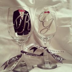 Bride & Groom Wine Glasses Set (2), Wedding, Party, Gift, Shower, Engagement, Couple, Custom, Monogram, Personalized. $29.99, via Etsy.