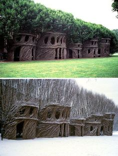 Patrick Dougherty is a wood craftsman the likes of which most of us have never seen. Rather than cutting, planing, leveling and assembling rectilinear wood structures he shapes living trees into amazing natural tree buildings.