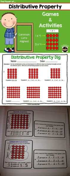 Distributive Property is an essential concept for our students. This packet includes over 50 pages of activities and games. Math Resources, Math Activities, Math Games, Math Strategies, Teaching Math, Math Teacher, Teaching Ideas, Teacher Tools, Third Grade Math