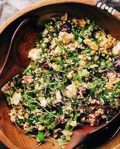 Walnut, Feta, And Arugula Couscous Salad via @feedfeed on https://thefeedfeed.com/littlespicejar/walnut-feta-and-arugula-couscous-salad
