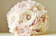 Fabric Wedding Bouquet Brooch Bouquet Bridal by bouquets4love