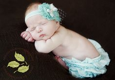Baby Headband Newborn Headband Aqua Shabby by MayaJAccessories, $11.95